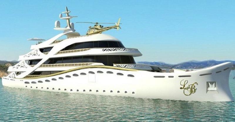 Lo Yacht solo per Donne di Lidia Bersani Lungo circa 80 metri, impreziosito da fiori, pellicce, oro e cristallo, per un party sul mare o sull�