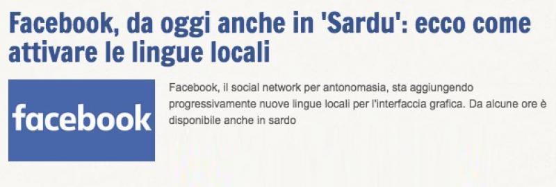 Facebook in Sardo Facebook, da oggi anche in '