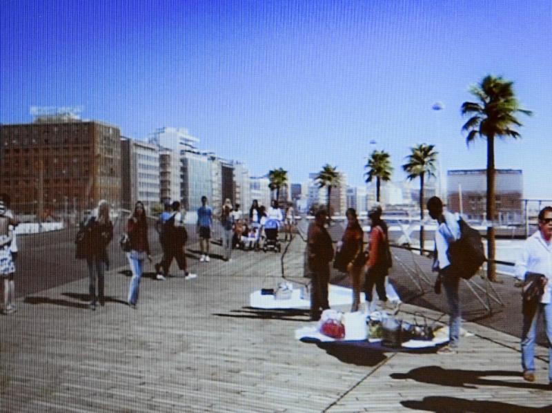 Venditori abusivi nel rendering del progetto per la nuova Stazione Marittima.